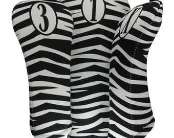 Zebra Skin Print Golf  Club Head Cover Set