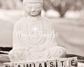 "No. 72 Buddha ""Namaste"" -  Black and White Fine Art Photography Print, 8x10"