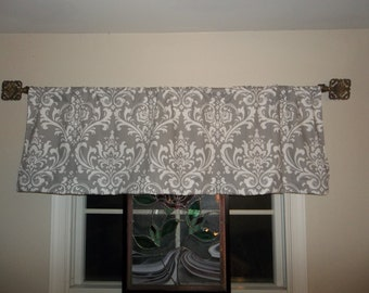 52 x 16 in. gray damask valance