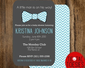 Little Man Baby Shower Invitation, Bow Tie Baby Shower, Bow Tie, Little Man, Chevron, Invite