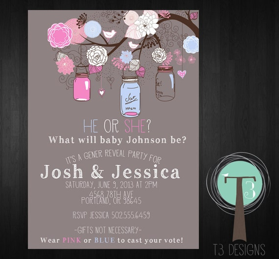 Hanging Jars Gender Reveal Party Invitation Jars Gender – Invitations for Gender Reveal Party