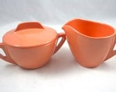 Vintage Florence Prolon Ware Cream and Sugar Set - Pink Salmon Color - LuckySevenVintage