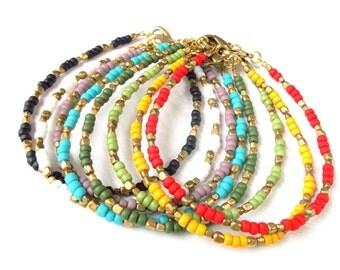 Bohemian Jewelry Dainty Seed Bead Bracelet Brass Beaded Friendship Bracelet - SET OF 2 - Boho Jewelry Gypsy Jewelry Tribal Stacking Bracelet