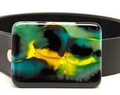 Handmade Glass Belt Buckle- Mod Black Mint