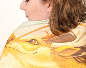 Golden Asian Dragon Scarf