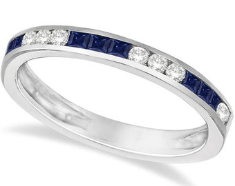 0.55ct Channel Set Diamond & Blue Sapphire Stack Ring Band 14k White Gold