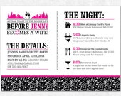 Bachelorette Invitation - Printable - Lingerie Shower, Bachelorette Party, Girls Weekend, Bachelorette Itinerary