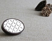 Embossed Metal Brooch, Geometric Design, Oval Wood Frame, Hand Crafted Jewelry