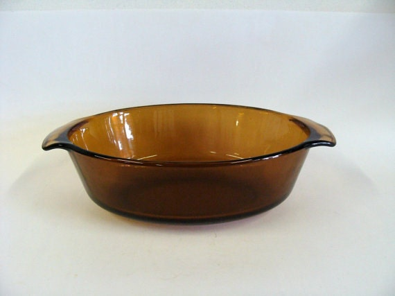 Anchor Hocking Fire King Amber Glass Baking Casserole Dish / Brown Serving Casserole Dish