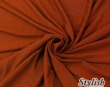 RUST Viscose Jersey Knit Fabric RUST Stretchy Jersey Knit Fabric by the yard Apparel Dress Shirt Arts and Crafts Fabric - 13405