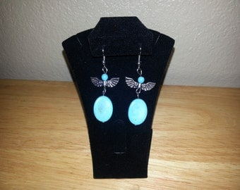Clearance imitation turquoise earrings with wings
