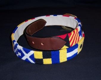 Needlepoint Nautical Flags Belt Brass Leather 32