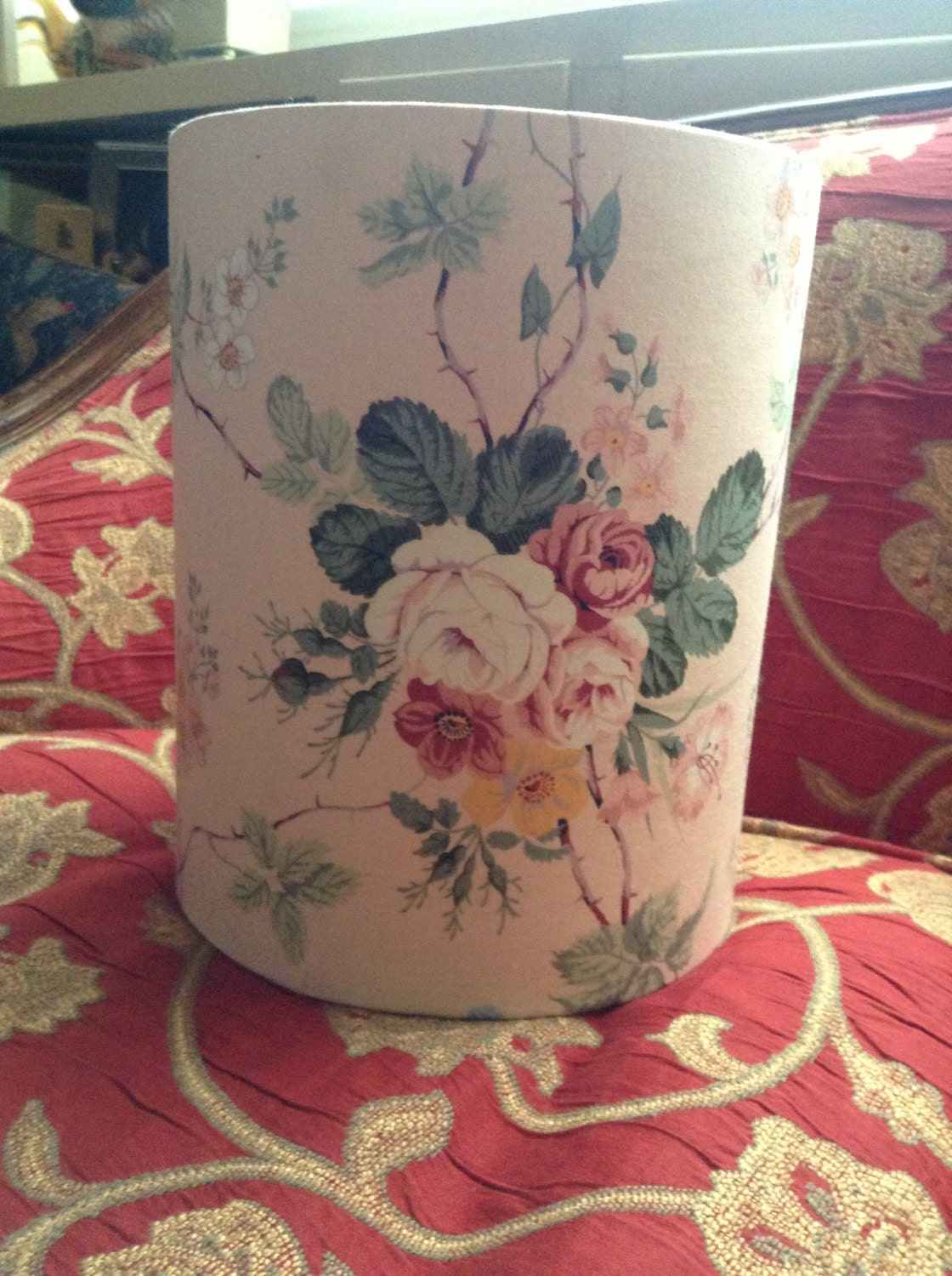Shabby Chic Fabric Floral Wastebasket Trash By