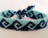 Friendship Bracelet, Macrame, Woven Bracelet, Wristband, Knotted Bracelet -Blue Light Blue Greek Waves