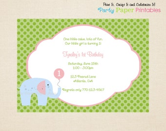 Elephant Birthday Invitation, Pink, Blue & Green - PRINTABLE, DIY by Party Paper Printables