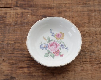 Vintage Peony & Wildflower Jewelry Dish with Gold Edging