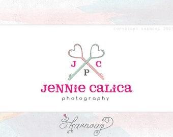 Premade Key Photography Logo, Custom Logo, Heart, Initial Logo