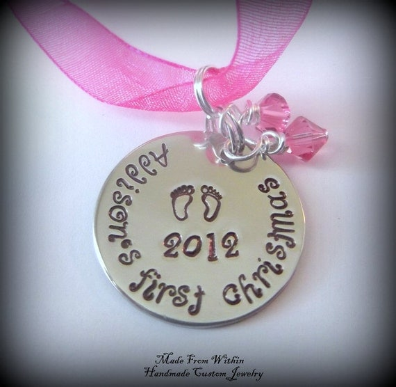 Sterling Silver Baby's First/Yearly Christmas Hand Stamped Christmas Ornament- Personalized Christmas Ornament