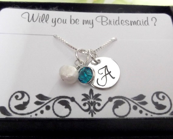 Set Of TWO- Personalized Bridesmaid Necklaces- Monogrammed Initial Charm Necklace- Will You Be My Bridesmaid- Bridesmaid Gift