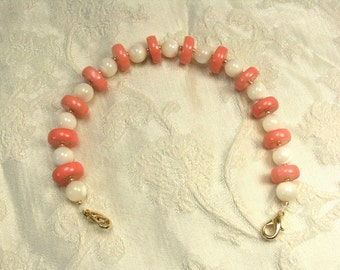 Mother of Pearl and Angel Skin Coral Bracelet