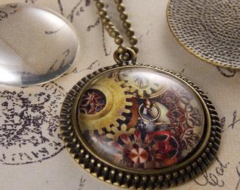 25 Kits- Vintage Bevel Bezel Trays - 30mm Round Trays with Glass Cabochons and Ball Chain Necklaces.