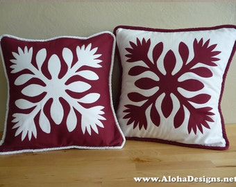 Hawaiian Quilt Pillow Covers - red lehua flowers
