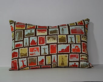 "Tourist pattern -  12"" x 18"" Kidney Pillow  -CORE INCLUDED"