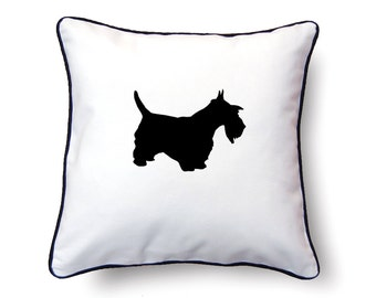 Scottie Pillow 18x18 - Scottish Terrier Silhouette Pillow - Personalized Name or Text Optional