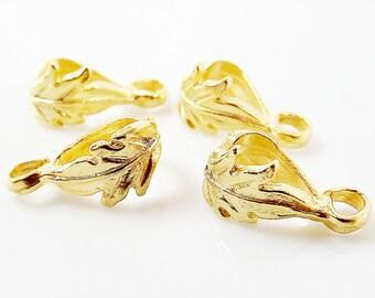 4 Leaf Pendant Bails - 22k Gold Plated