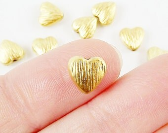 10 Textured Heart Bead Spacers - 22k Matte Gold Plated