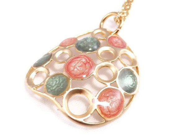 Round pendant necklace  gold green pink circles pendant necklace hand painted resin colorful jewelry