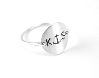 Silver Anchor Monogram Ring