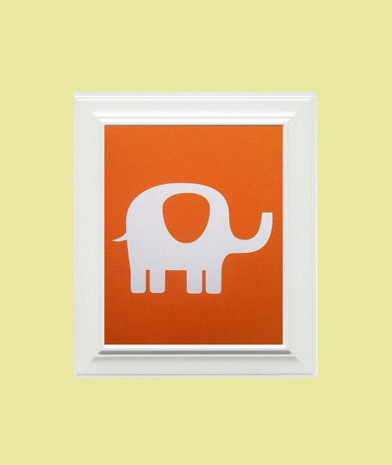 Custom Personalized Elephant/Animal Picture, Children's Wall Art, Kid's Wall Art, Nursery Wall Art, Elephant Wall Art-Orange,White