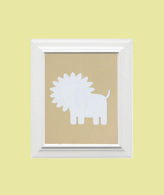 Custom Personalized Lion Picture, Children's Wall Art, Kid's Wall Art, Nursery Wall Art, Lion Wall Art-Beige, White