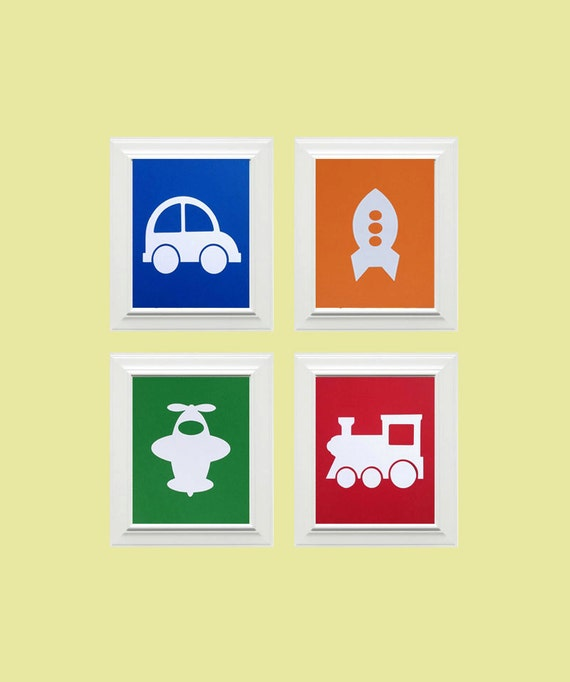Set of 4-Custom PersonalizedTransportaton Pictures, Children's Wall Art, Kid's Wall Art, Nursery Wall Art-Car, Rocket, Airplane, Train