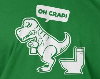 Funny Dinosaur T-rex T Rex Tyrannosaurus T-Shirt - Oh Crap  Geek dinosaurs School Mens Ladies Womens Youth Kids