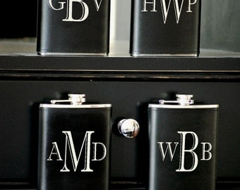 4 Personalized Groomsmen Gift, Leather Flasks Liquor Flasks Custom Engraved, Wedding Party, Groomsmen Gifts, 8oz