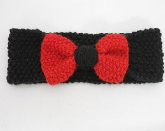 Red and Black Bow Headband--All Sizes--Customize!