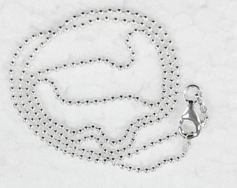 18 inch 1.5mm Ball Bead Solid 925 Sterling Silver Chain. Stamped 925 Italy Finished Chain Army Chain Tag Chain – SCBC18A