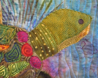 Painted Lady Terrapin raw edge applique and pieced turtle wall quilt pattern