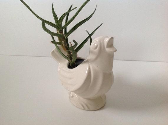 Vintage White Ceramic Bird Planter