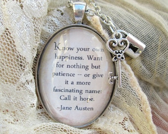 Jane Austen quote necklace, Pride and Prejudice quote pendant