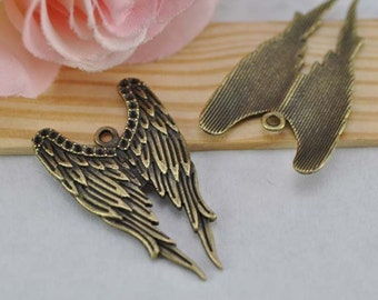 10pcs Angel Wings Charms, Antique Brass Angel Wings Charm Pendant 24x40mm