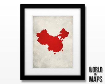 China Map Print - Home Town Love - Personalized Art Print Available in Different Sizes & Colors