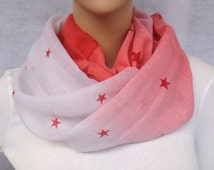 pink stars voile infinity scarf women spring scarf