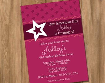 american girl invite  etsy, Birthday invitations