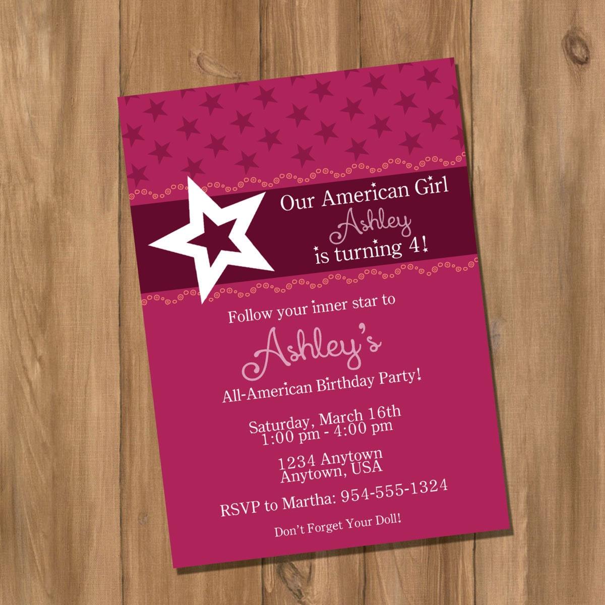 American Girl Party Invitation Template – orderecigsjuice.info