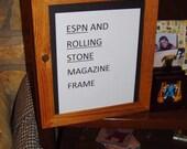 ESPN Rolling Stone magazine size frame Rare solid rustic cedar oak finish country rustic display