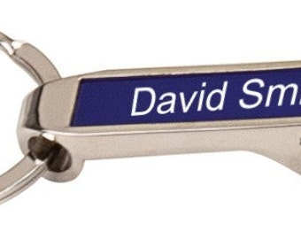 Personalized Silver / Blue Bottle Opener Keychain - Free Laser Engraving