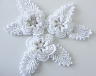 Crochet Flowers and Leaves Applique with Glass Pearl Accents